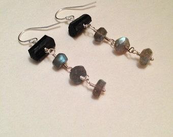 Eight of Batons Black Tourmaline Labradorite Gemstone Sterling Silver Earrings | Handmade Nickel-Free Earrings | Witch Tarot Occult Jewelry