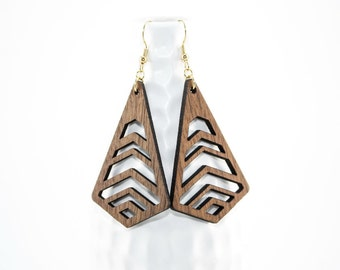 Laser Cut Wood Dangle Earrings - Modern Geometric Chevron Cutout Design - Natural Wood: Choice of Maple or Walnut - Gifts for Her