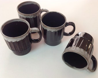 4 1970s Stackable Brown Drip Mugs, Made In Japan, Set of 4