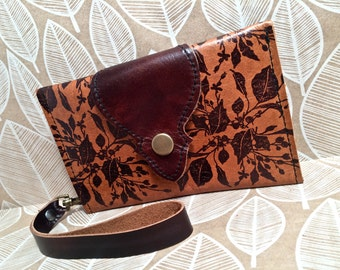 Leather Wallet, Phone Case with Wrist Strap & Zipper Pocket in Sienna Brown, Brushwood Pattern Print, * SALE * Coupon Codes