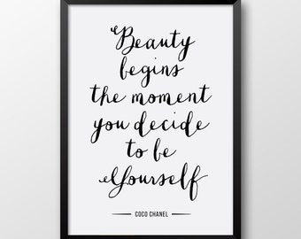 Coco Chanel print, Inspirational quote, Printable art, Typography print, Motivational print 171