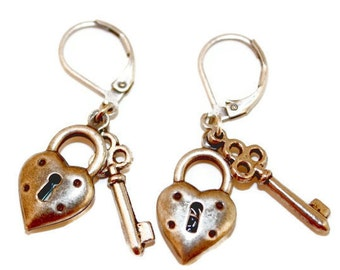 Silver Ox Keys to My Heart Brass Leverback Earrings