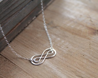 Cadiz Dainty .925 Sterling Silver Arabesque on Sterling Silver Chain Necklace - Romantic Celtic Knot Infinity Lovers Knot