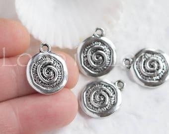 25%OFF Spiral Small disc pendant, Antique Silver textured Mykonos Greek metal casting Cast Charm Round 15mm DIY - 2 pcs