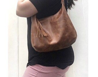 Brown distressed leather hobo bag, pull up leather, smaller size, zippered shoulder bag, genuine leather, handmade in the USA