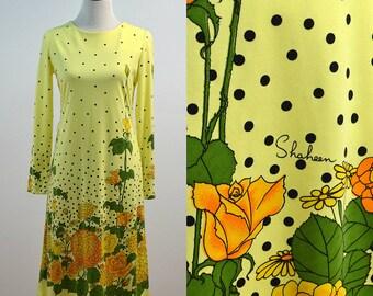 Vintage Alfred Shaheen 60s 70s Yellow Polka Dot Floral Flowers Designer Dress Medium M 1960s 1970s Long Sleeve Medium M Midi Length