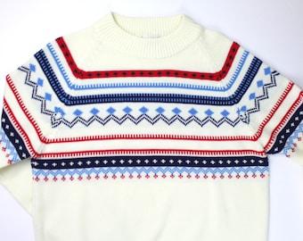 Vintage Kmart Pullover Sweater Mens Large Cool Pattern