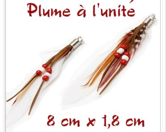 White Black Brown l ' single red feather pendant