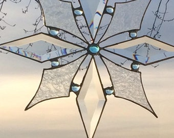 Custom Made Icy Snowflake Suncatcher w/ Bevels & Glue chip glass