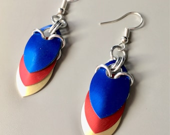 Southwest Airlines Inspired Scalemail Earrings