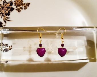 Purple imperial jasper earrings / regalite earrings / sea sediment earrings / purple earrings / howlit earrings / heart earrings