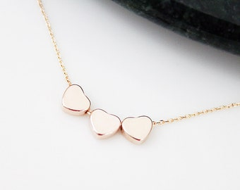 Dainty Rose Gold 3 hearts Necklace Bridesmaid Gift Bridesmaid Necklace Tiny and Simple Everyday Necklace