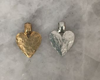 Heart Charm Pendant Hammered with Bail, Rustic GOLD or SILVER, Pewter, Lead Free, 24k Gold