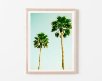 Two Palm Tree Nursery Art. Nursery Wall Art. Nursery Prints. Nursery Decor. Palm Wall Art. Palm Print. Palm Tree Wall Art. Aqua Wall Art.