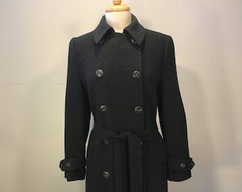 Grey camel hair full length coat Jacobson's  camel hair double breast trench coat belted long winter coat