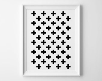 Plus Pattern Print, nursery decor, wall art, kids room decor, poster, black and white, scandinavian, minimalist, geometric art, graphic