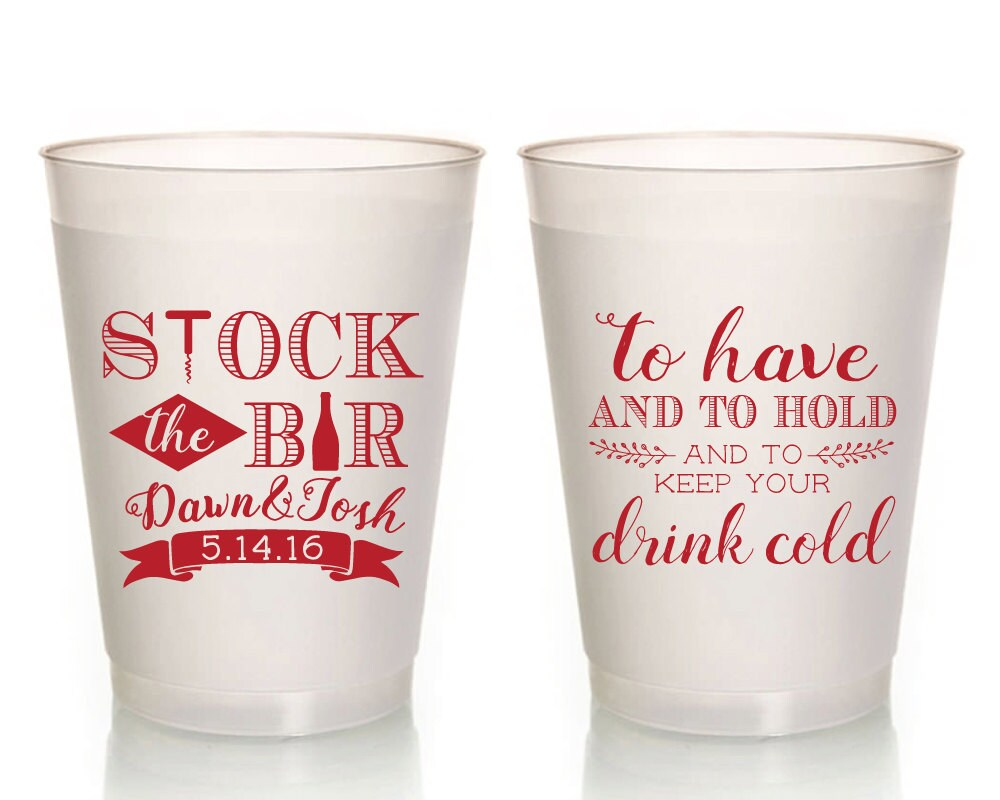 Stock The Bar Stock the Bar Party Cups Couples Shower Cups