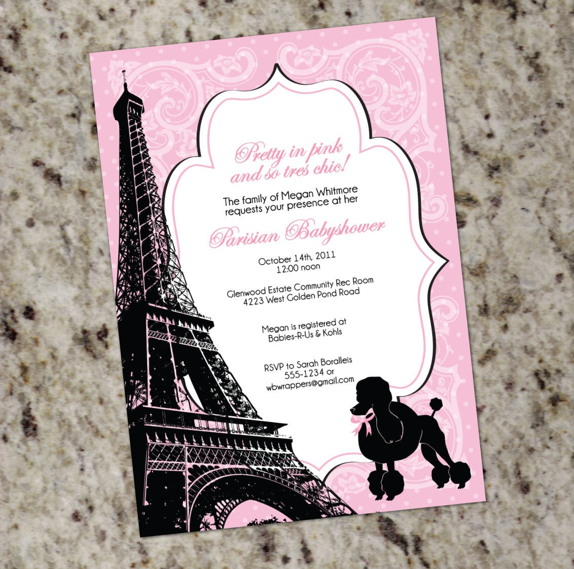 Paris themed Baby Shower Invitation Pink and Black French