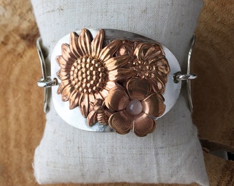 Springs promise mixed metal rose quartz tri spoon bracelet with magnetic clasp from girl ran away with the spoon