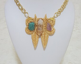 SELINA Gold Lace and Crystal Necklace, Bridal Necklace, Bridesmaids, Woodland Wedding, Boho Wedding, Vintage Wedding, Crystal Necklace, Gold