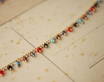 50cm  Handmade Colorful Glass Beads Chain/Gold Plated Brass