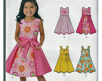New Look Sleeveless Dress Six Sizes in one Size 3-8 yrs / Original Simplicity Uncut Sewing Pattern 6202
