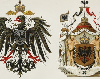 1897 Antique lithograph of GERMANY: Coat of Arms and Escutcheon. German Imperial Heraldic Shiels. Heraldry. 121 years old nice print