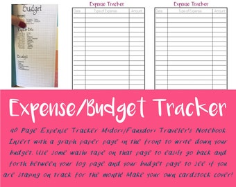 40 Page Budget Insert - Expense Tracker - Travelers Notebook - Budget Tracker - Printable Insert - Planning Notebook - Finance Tracker