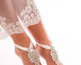 Lace barefoot sandals Bridal footless sandals Sequin lace