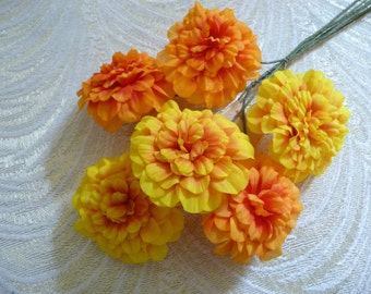 Vintage Marigold Flowers Spray of 6 NOS Yellow Orange NOS Millinery from Germany for Hats Fascinators Bouquets Floral Arrangements 4FV0181O