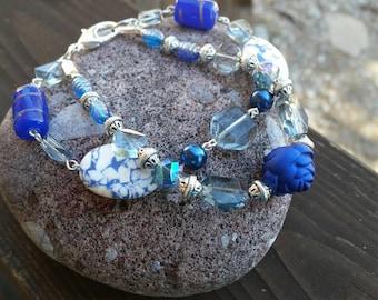Blue Gemstone and Smokey Quartz Hand Beaded Bracelet - Large 9 inch bracelet with large lobster clasp - Gift Ideas