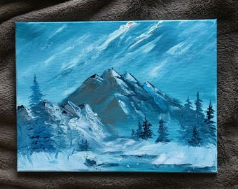 original acrylic painting, landscape painting, snowy creek on the edge of a mountain range, 12x16 painting, acrylics on canvas