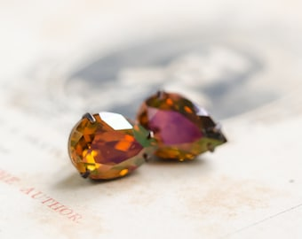 Pumpkin Spice Crystal Stud Earrings - Sterling Silver Posts - FREE SHIPPING