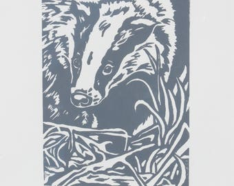 Limited edition hand printed Linocut of a Badger