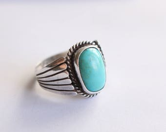 Sterling Silver  and Blue Gem Turquoise Ring- Size 11