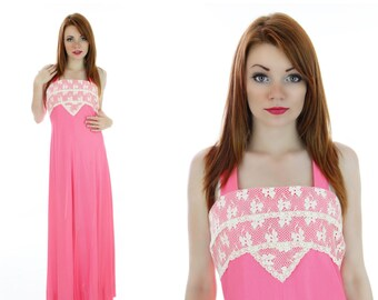 70s Romantic Dress 60s Pink Shimmer Floral Lace Sundress Maxi Vintage Boho Prairie Hippie Mod Peasant Hostess Formal Small S M Medium