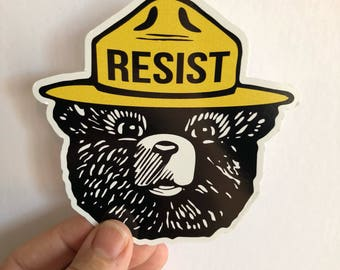 Bear resist bumper sticker | anti trump resistance sticker