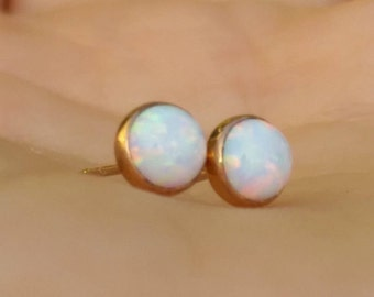 delicate gold studs, white opal gold opal studs white Opal studs opal gold filled studs Opal earrings, gold filled opal earrings, gold studs