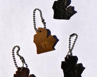Leather Michigan state shaped keychain - Hand cut
