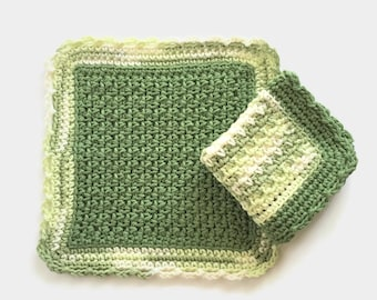 Crochet Dishcloth, Set of Two Sage Green and White Dish Cloths, Cotton Washcloth, Handmade Wash Cloth
