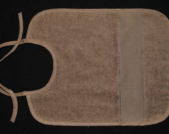 bib embroidery baby child large tan brown color