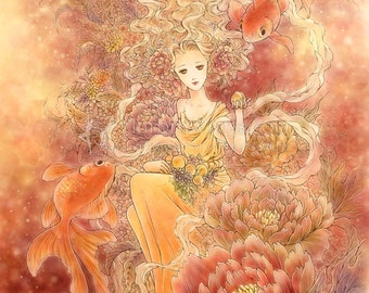 Free US Shipping - Feng Shui Gold Fish Peach Peony Fantasy Art - Abundance - 8x10 Signed Fantasy Art Print - by Mitzi Sato-Wiuff