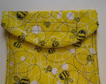 reusable snack bag - bees