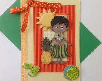 Kids birthday card, party, made 3D, beach, Tahiti, pineapple, exotic