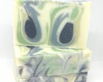 Eucalyptus Soap - All Natural Eucalyptus Soap - Drop Swirl Eucalyptus Soap - Green Blue Yellow Cream and Black Eucalyptus Soap