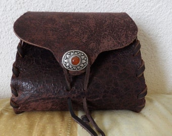 Medieval style vintage look leather purse