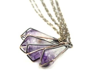 Raw Amethyst Necklace in Earth Toned Copper - Geometric Gemstone Cage Necklace - Apothecary Necklace - Raw Amethyst Jewelry - Crystal Cage