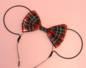Christmas Plaid Bow and Black Wire Mouse Ears Headband