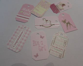 Set of 8 tags for scrapbooking-color pink