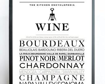 Wine art decor, wine poster, wine art print, typography kitchen printable, kitchen print, printable poster, typography print